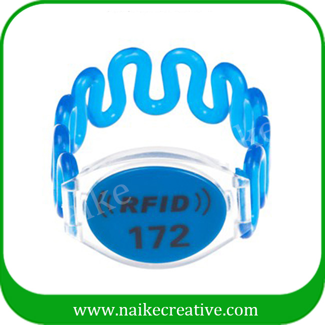 Plastic rfid wristband with number printing waterproof RFID bracelet for swimming pool
