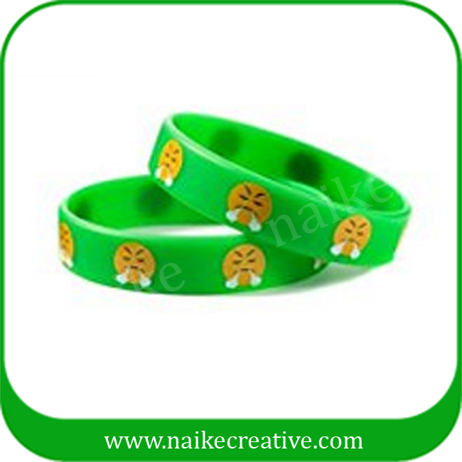 Promotional cheap funny emoji silicone bracelet