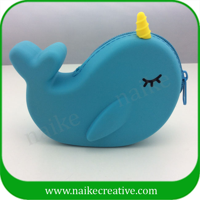 Eco-friendly Silicone Material Whale Design Purse Coin With Zipper