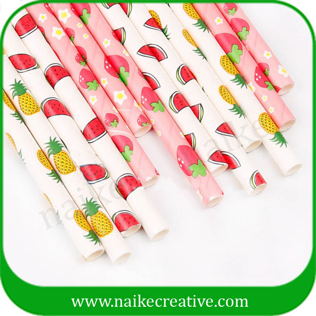 Disposable Strawberry Color Printing Paper Drinking Straws Flexible