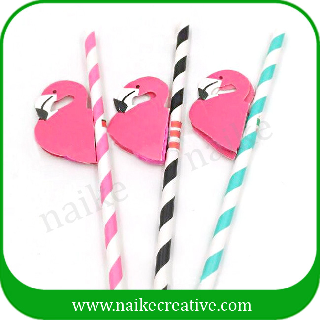 Pink Stripe flamingo drinking straw for Barware accessories