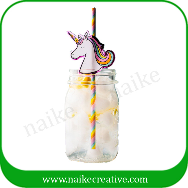 Light Pink and Bright Pink with Gold Glitter Unicorn Paper Drinking Straw