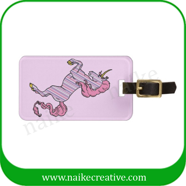 high quality printing unicorn leather luggage tag with strape