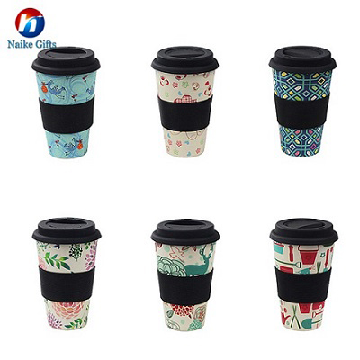 Eco-friendly Non toxic bamboo mug coffee with silicone lid and holder