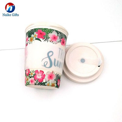 Reusable bamboo fiber ecoffee drinking cups with silicone sleeves